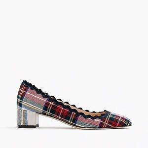 J. Crew Scallop Heels in Festive Plaid